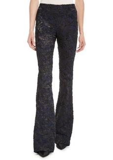 Michael Kors Floral Stretch Metallic-Brocade Flared-Leg Pants