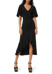 Michael Kors Flutter-Sleeve Wrapped Jersey Dress