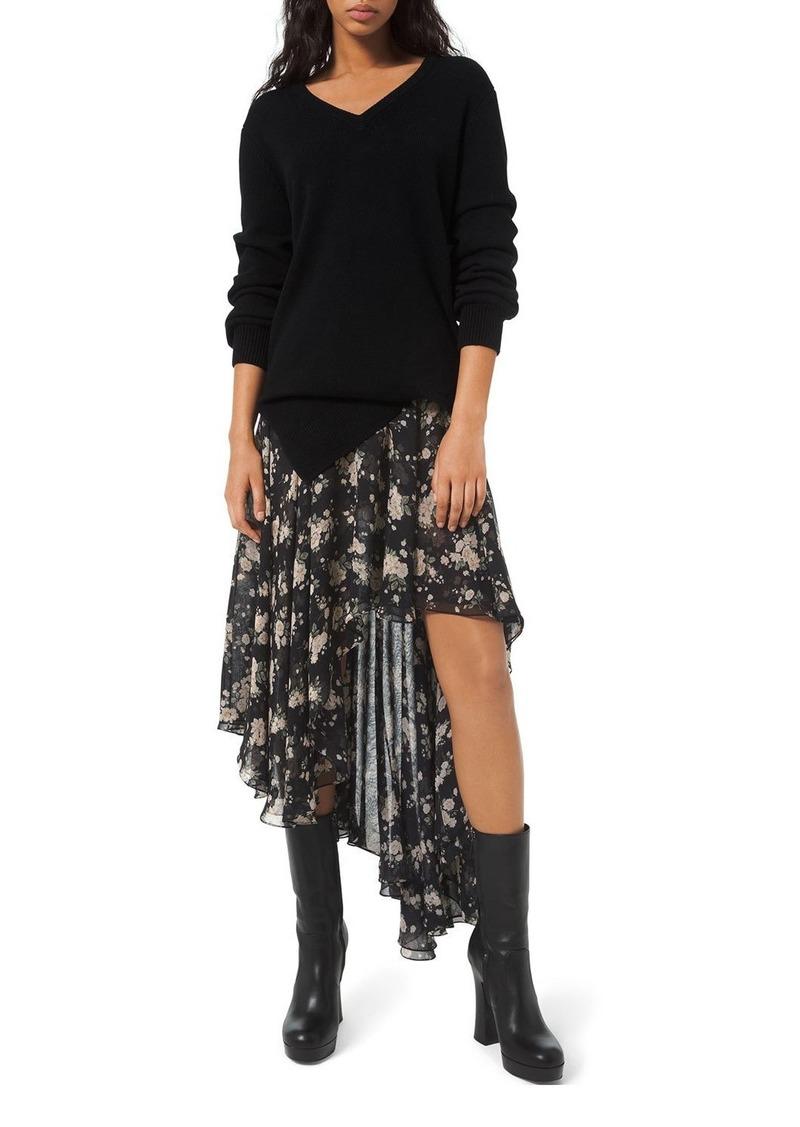 Michael Kors French Floral Chiffon Asymmetric Skirt