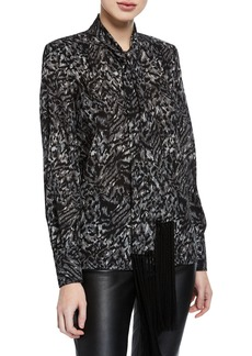 Michael Kors Fringe-Tie Button-Down Silk Blouse