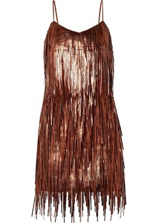 Michael Kors Fringed Metallic Leather Mini Dress