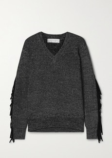 Michael Kors Fringed Ribbed Cotton Merino Wool And Cashmere-blend Sweater