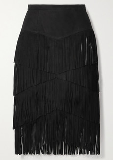 Michael Kors Fringed Suede Midi Skirt