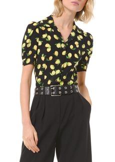 Michael Kors Fruit Print Puff-Sleeve Button-Front Silk Shirt
