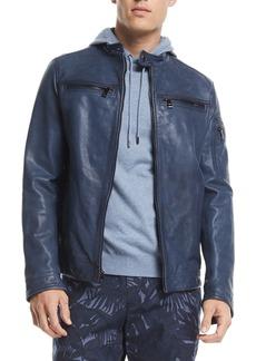 Michael Kors Garment-Washed Cotton Racer Jacket