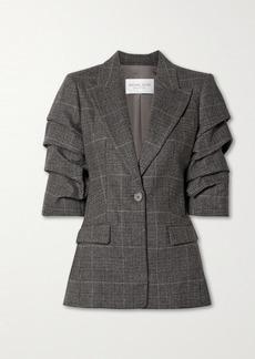 Michael Kors Gathered Houndsooth Wool-blend Blazer