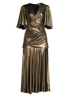 Michael Kors Gathered Pleated Metallic Midi Dress