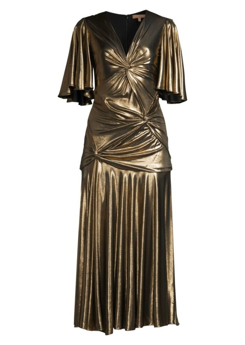 Michael Kors Gathered Pleated Metallic Midi Dress