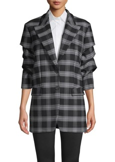 Michael Kors Gathered-Sleeve Plaid Jacket