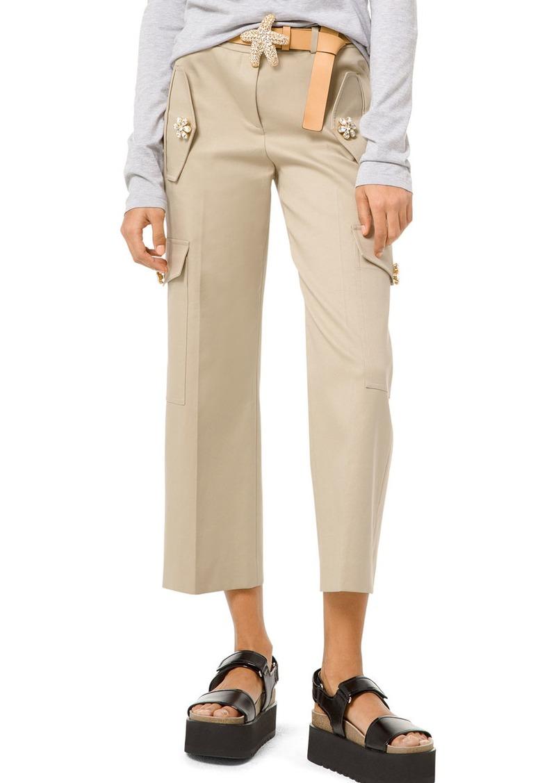 Michael Kors Gem-Button Cotton-Twill Cargo Pants