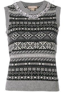 Michael Kors geometric pattern knitted top
