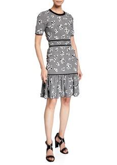 Michael Kors Gingham Floral Jersey Flounce Dress