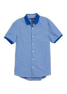 Michael Kors Gingham Short Sleeve Slim Fit Knit Shirt