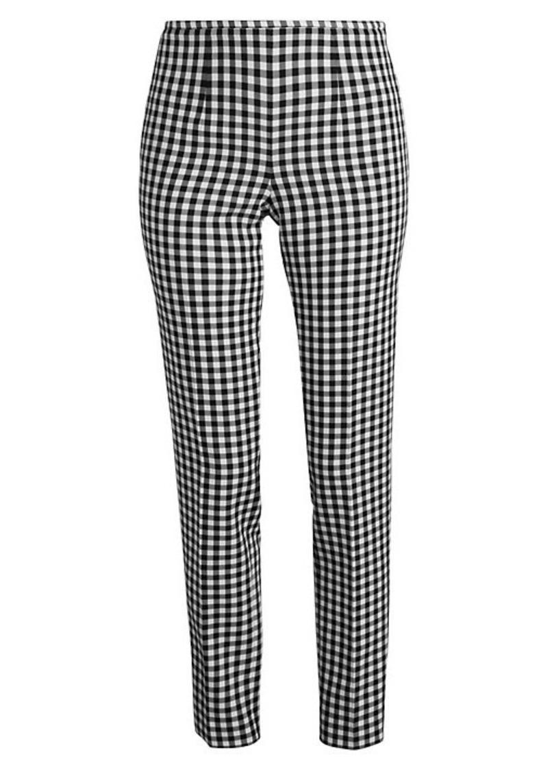 Michael Kors Gingham Side-Zip Wool-Blend Pants