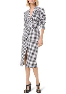 Michael Kors Gingham Slit Pencil Skirt