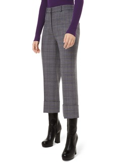 Michael Kors Glen Plaid Wool Cropped Trousers