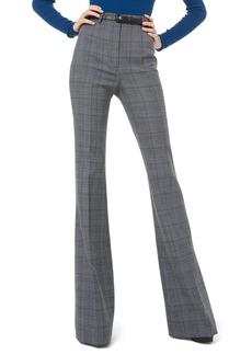 Michael Kors Glen-Plaid Wool High-Rise Flare Pants