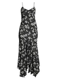 Michael Kors Handkerchief Hem Floral Slip Dress