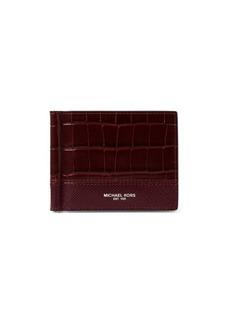 Michael Kors Harrison Croc-Embossed Leather Money Clip Wallet