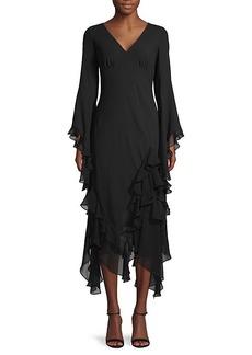 Michael Kors High-Low Ruffled-Trim Silk Midi Dress