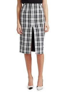 Michael Kors High-Slit Tartan Pencil Skirt