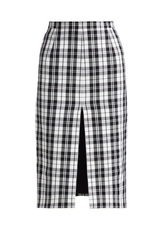 Michael Kors High-Slit Tartan Pencil Skirt