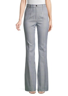 Michael Kors High-Waisted Jacquard Check Flare Pants