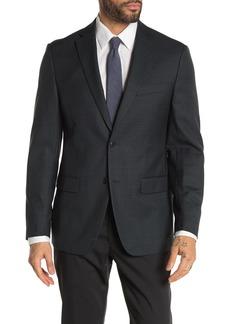 Michael Kors Hunter Green Mini Check Two Button Notch Lapel Sport Coat