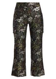 Michael Kors Jacquard Floral Cropped Flare Cargo Pants