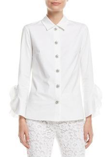 Michael Kors Jewel-Buttons Long-Sleeve Classic Stretch-Poplin Shirt