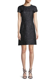 Michael Kors Jewel-Neck Cap-Sleeve Metallic Damask Brocade A-Line Mini Dress