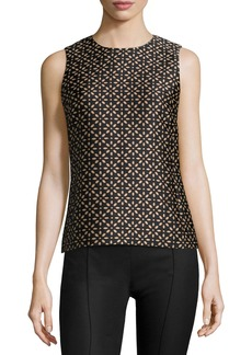 Michael Kors Jewel-Neck Floral-Print Shell