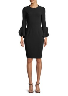 Michael Kors Jewel-Neck Ruffle-Sleeve Stretch-Wool Crepe Sheath Dress