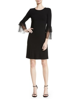Michael Kors Lace Bell-Sleeve A-Line Stretch Matte Jersey Cocktail Dress