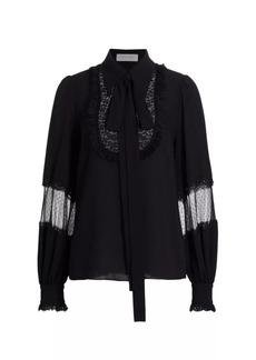 Michael Kors Lace Bib Silk Peasant Blouse