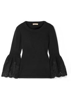Michael Kors Lace-trimmed Cashmere-blend Sweater