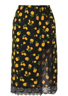 Michael Kors Lace-trimmed Floral-print Silk-crepe Skirt