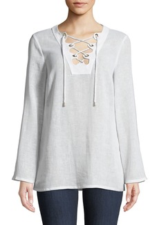 Michael Kors Lace-Up Linen Tunic