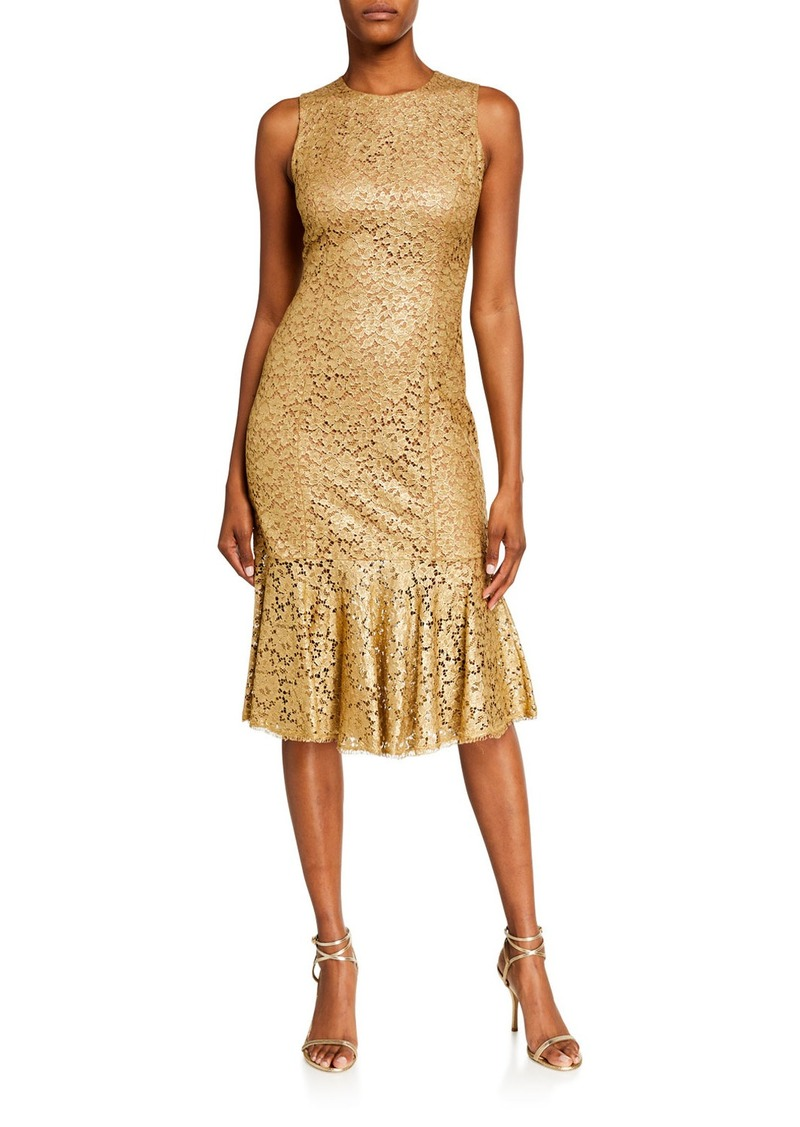 Michael Kors Lacquered Lace Trumpet Dress
