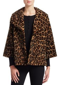 Michael Kors Shearling Lamb Animal Print Jacket