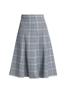 Michael Kors Laredo Glen Plaid Tailored Wool Flare Skirt