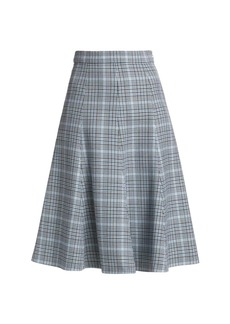 Michael Kors Laredo Glen Plaid Tailored Wool Flare Skirt