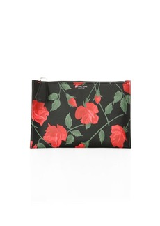 Michael Kors Large Rose-Print Leather Pouch