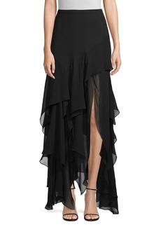 Michael Kors Layered Ruffle Silk Maxi Skirt