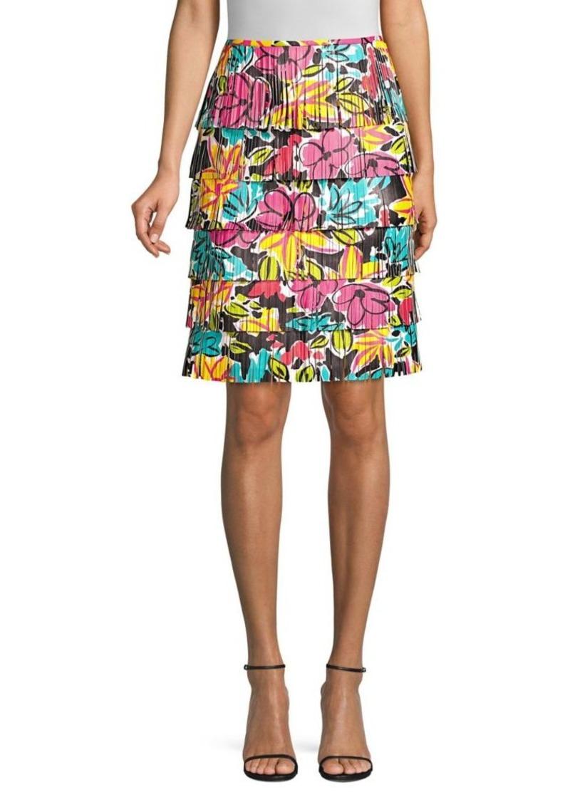 Michael Kors Leather Floral Fringe Skirt