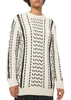 Michael Kors Leather-Laced Cashmere Knit Crewneck Sweater