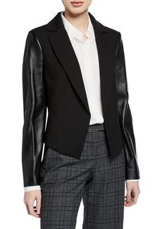 Michael Kors Leather Sleeve Wool-Blend Blazer
