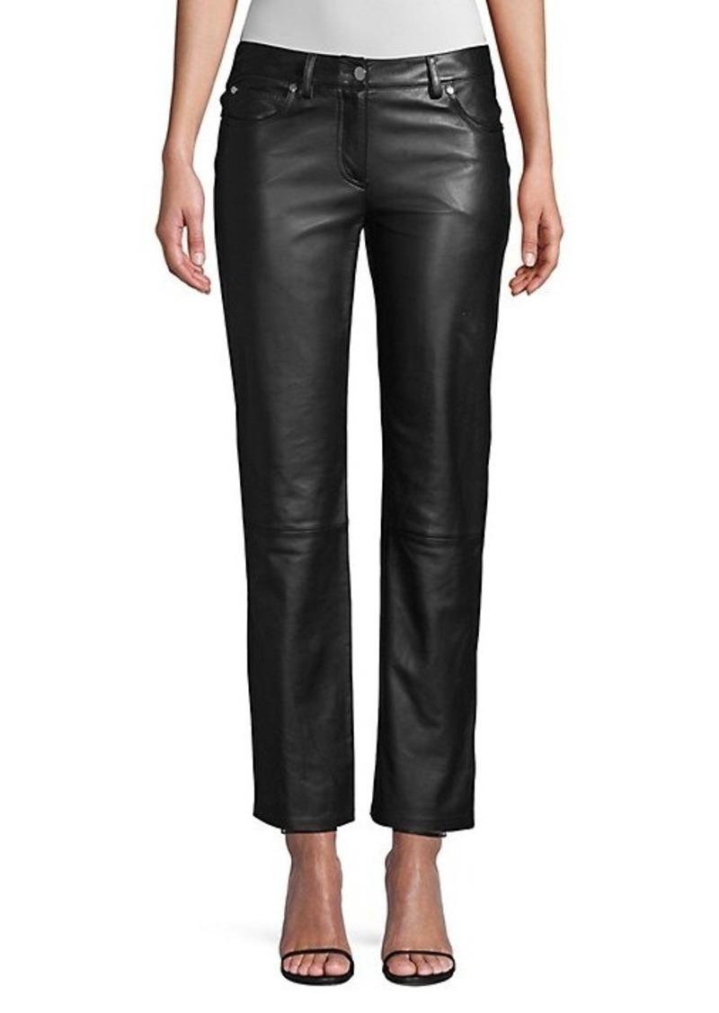 Michael Kors Leather Straight-Leg Ankle Pants
