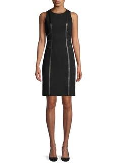 Michael Kors Leather Trim Illusion Sheath Dress