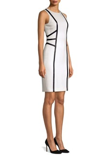 Michael Kors Leather Trim Illusion Sheath Dress